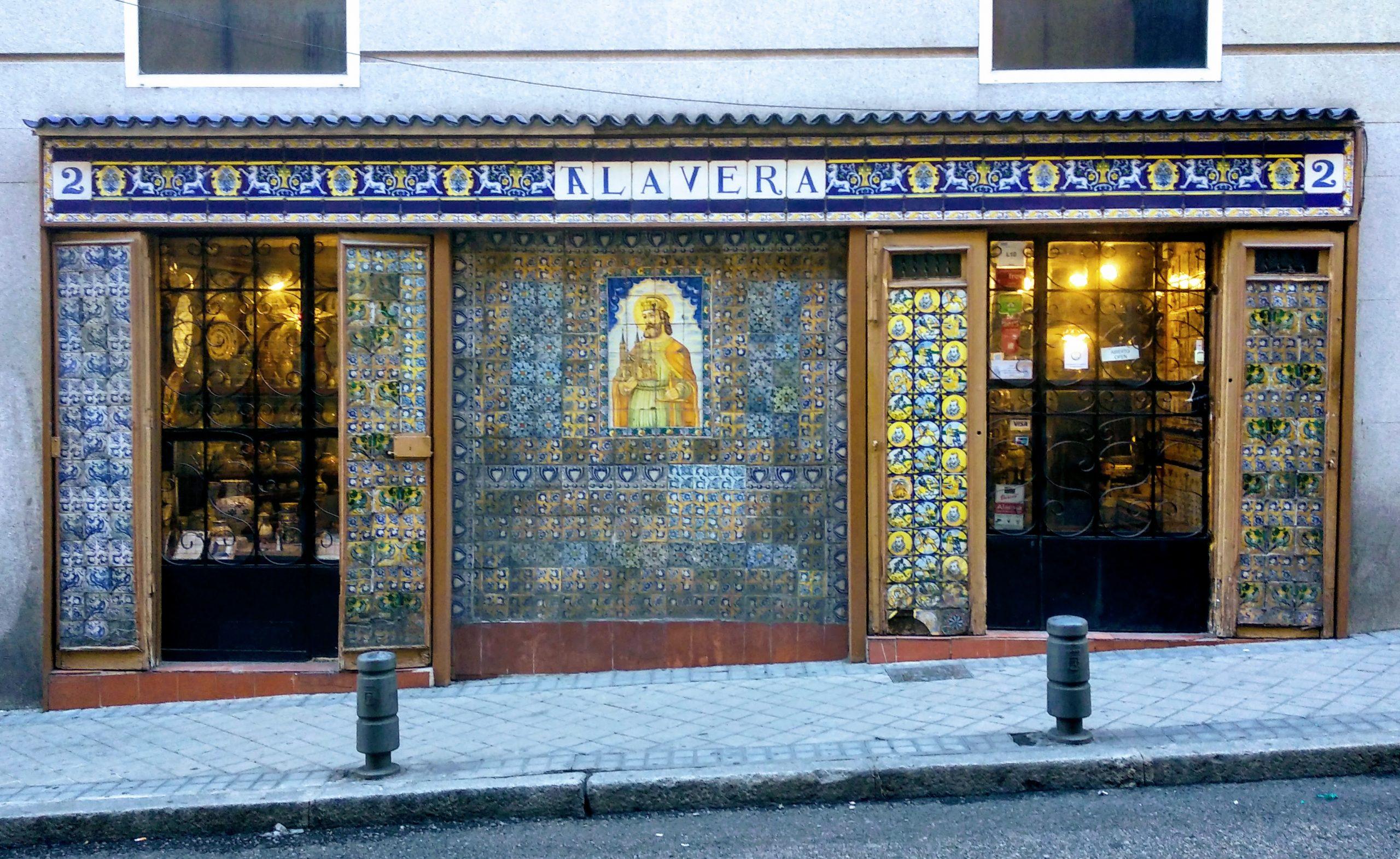 The shopfront of Antigua Casa Talavera, one of Madrid's oldest stores