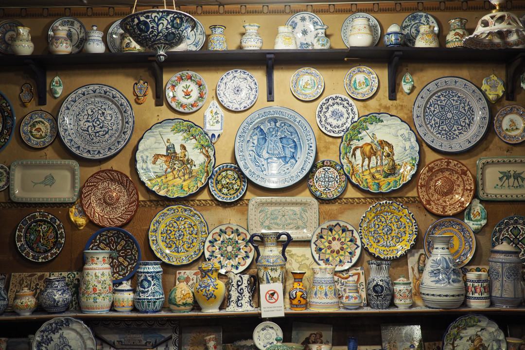 Artisanal ceramics on display